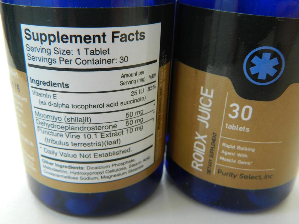 Roid X Ingredients Label